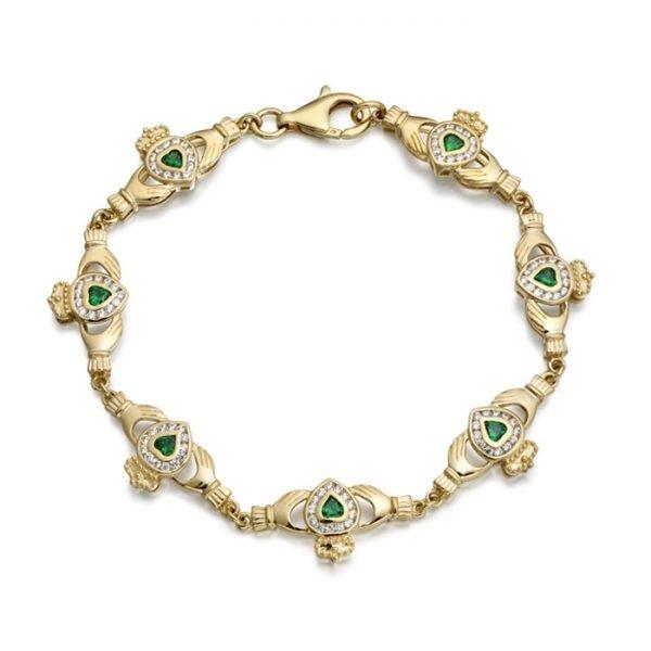 9ct Gold CZ Emerald Claddagh Bracelet - CLB38CL