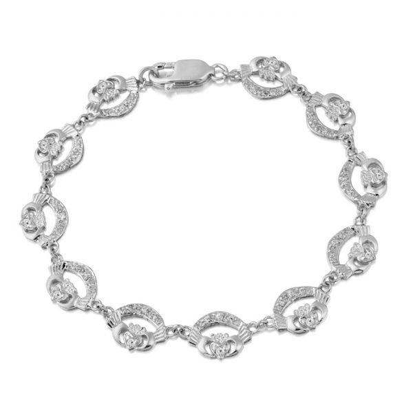 White Gold CZ Claddagh Bracelet - CLB4CZWCL