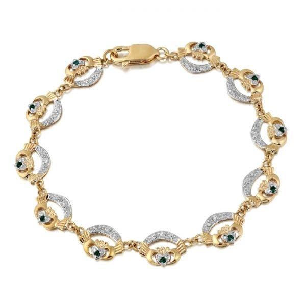 Ladies Gold Claddagh Bracelet - CLB4GCL