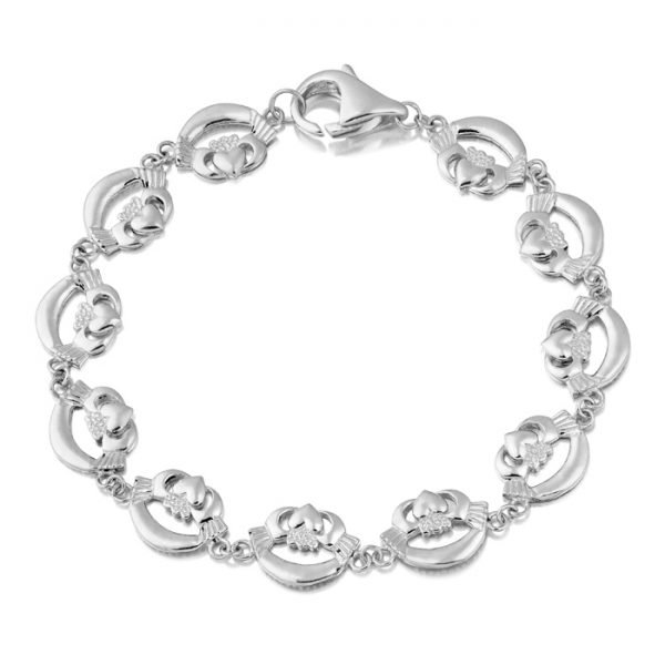 White Gold Claddagh Bracelet - CLB4WCL