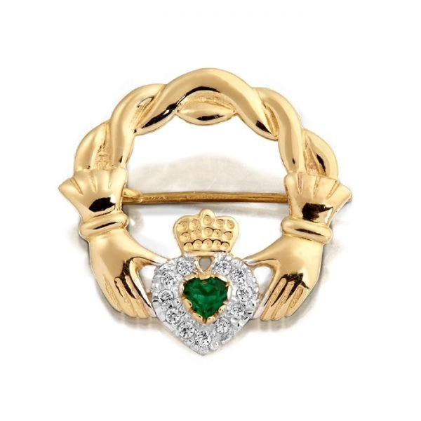 9ct Gold CZ Claddagh Brooch-BR1CZCL