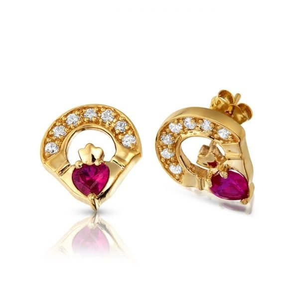 9ct Gold Claddagh Earrings-E187RCL