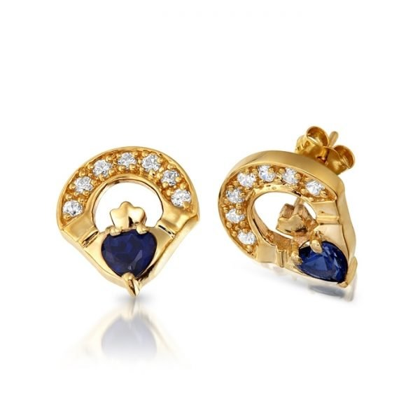 9ct Gold Claddagh Earrings-E187SCL