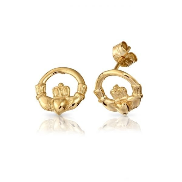 Gold Claddagh Earrings-EL1CL