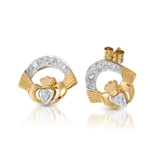 Gold Claddagh Earrings-CLECZCL