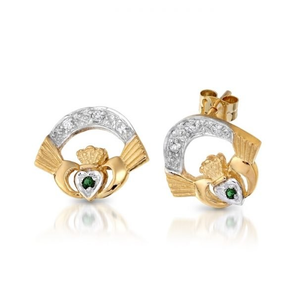 Gold Claddagh Earrings-CLECZGCL