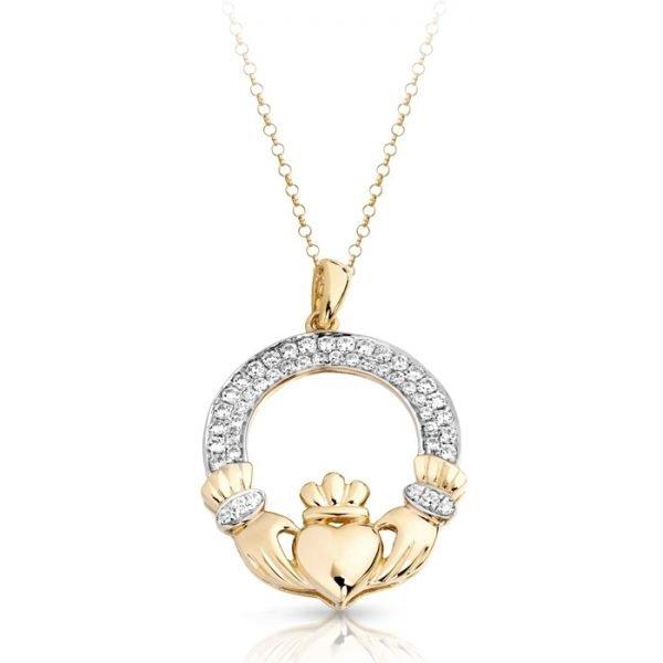 Gold Claddagh Pendant-P018CL