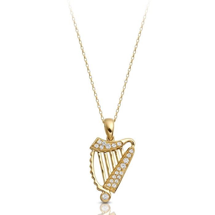Celtic harp pendant p030cl claddagh ring jewelry claddagh rings celtic harp pendant p030cl aloadofball Gallery