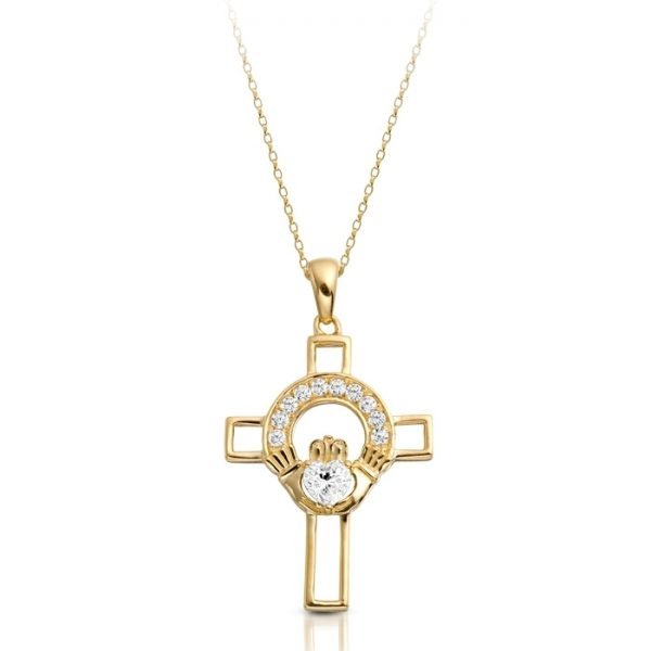 9ct Gold Claddagh Cross-C125CL