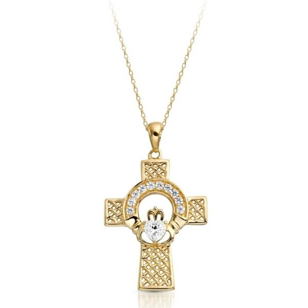 Gold Claddagh Cross-C126CL
