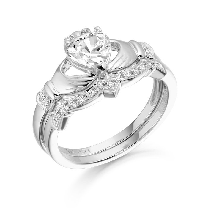 9ct Gold Claddagh Ring Set-CL34WCL