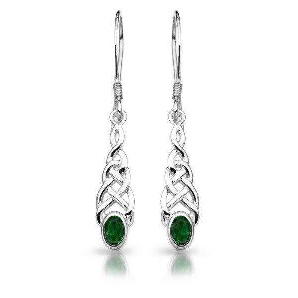 Silver CZ Celtic Earrings-SE035GCL