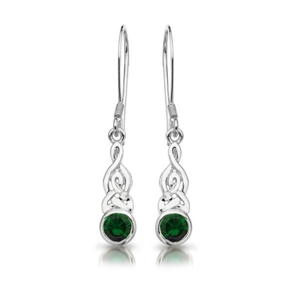 Silver Celtic Earrings-SE036GCL