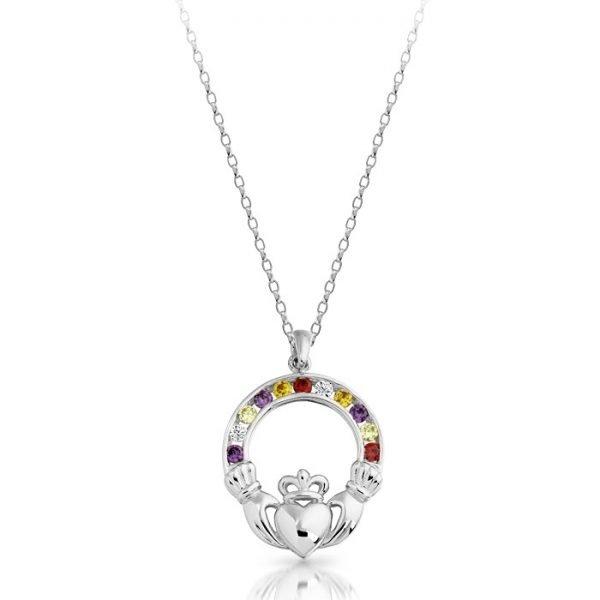Silver Claddagh Pendant-SP014MSCL