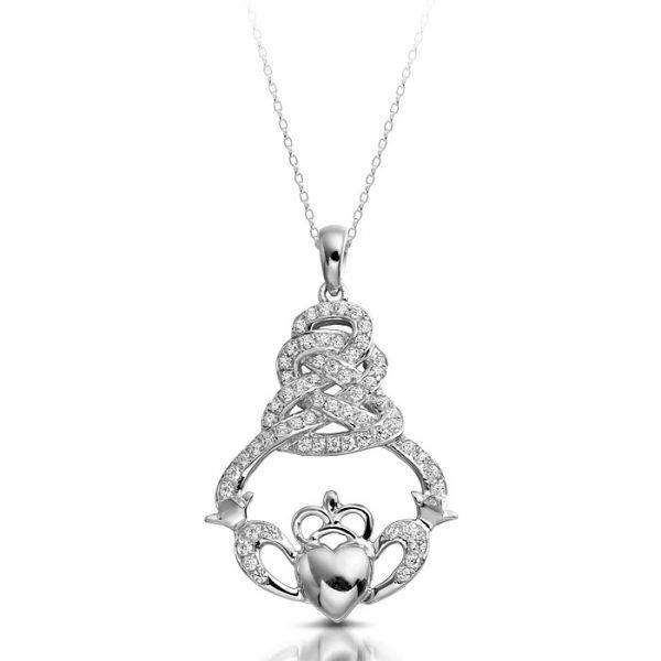 Silver Claddagh Pendant-SP017CL