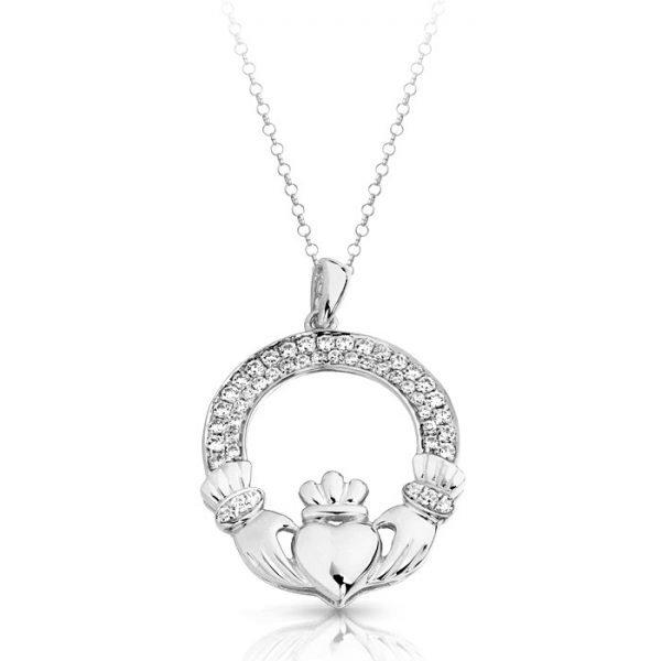 Silver Claddagh Pendant-SP018CL