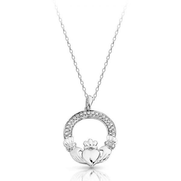 Silver Claddagh Pendant-SP018SCL