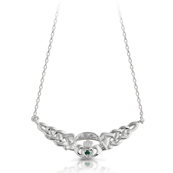 Silver Claddagh Necklace-SP01GCL