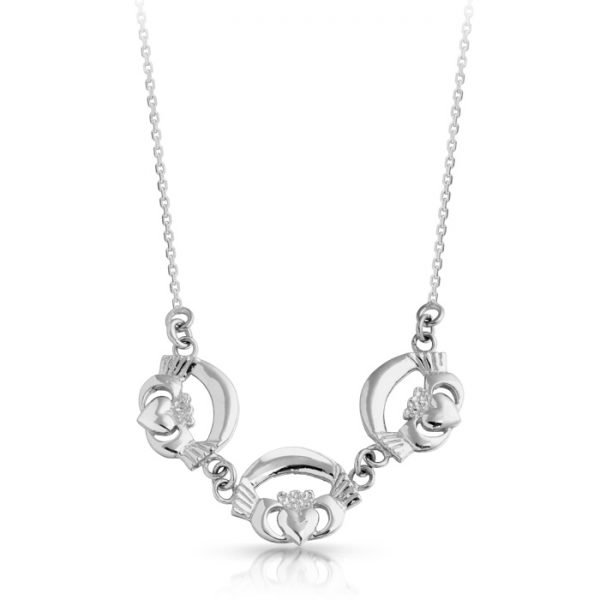 Silver Claddagh Necklace-SP02CL