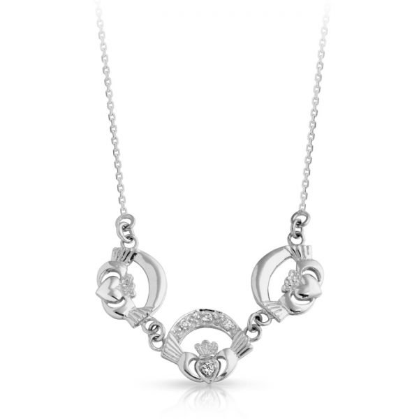 Silver Claddagh Necklace-SP03CL