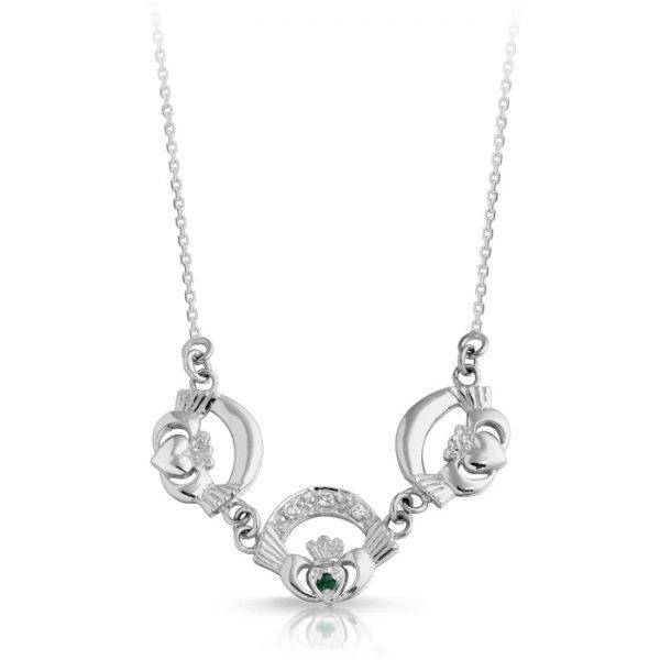 Silver Claddagh Necklace-SP03GCL