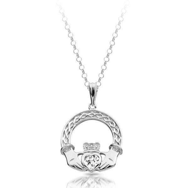 Silver Claddagh Pendant-SP023CL
