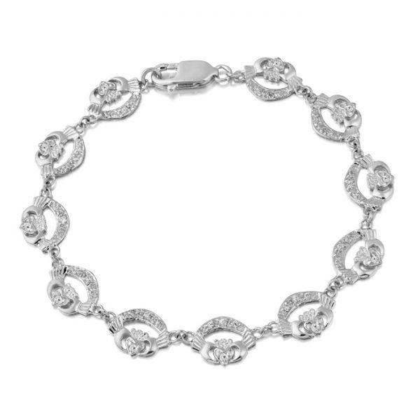 Silver Claddagh Bracelet-SCLB4CZCL