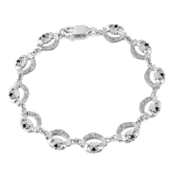 Silver Claddagh Bracelet-SCLB4CZGCL