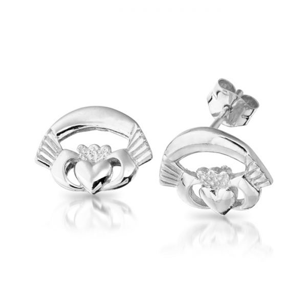 Silver Claddagh Earrings-SCLECL