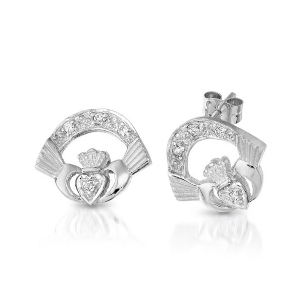 Silver Claddagh Earrings-SCLECZCL