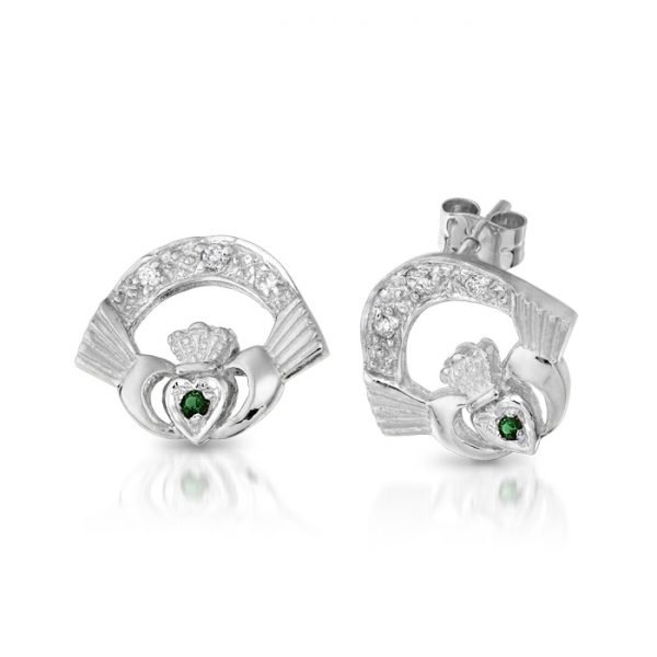 Silver Claddagh Earrings-SCLECZGCL