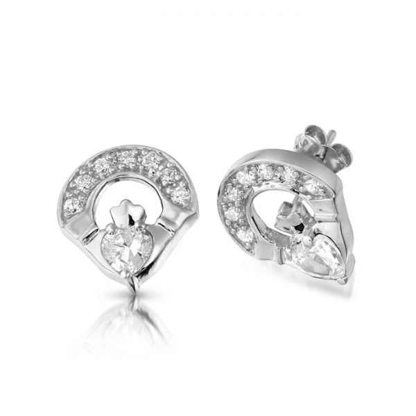 Silver Claddagh Earrings-SE187CL