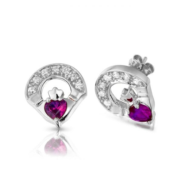 Silver Claddagh Earrings-SE187ACL
