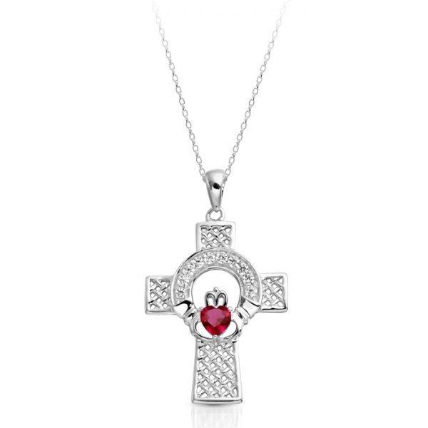 Ruby CZ Silver Claddagh Cross-SC126RCL