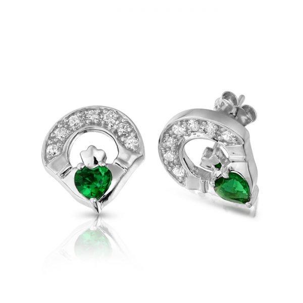 Silver Claddagh Earrings-SE187GCL