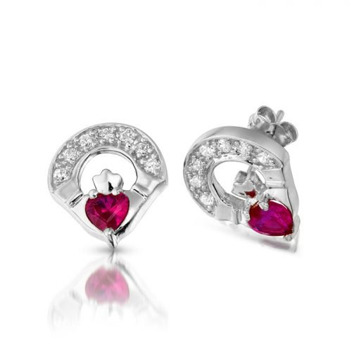 Silver Claddagh Earrings with Ruby. Irish Jewelry