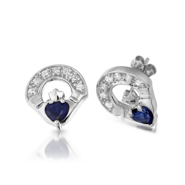 Silver Claddagh Earrings-SE187SCL