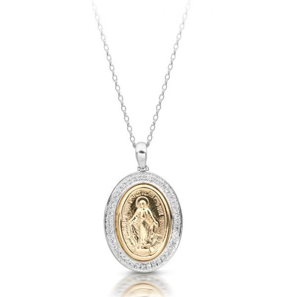 9ct Gold Miraculous Medal with Micro Pave stone setting-M1WCL