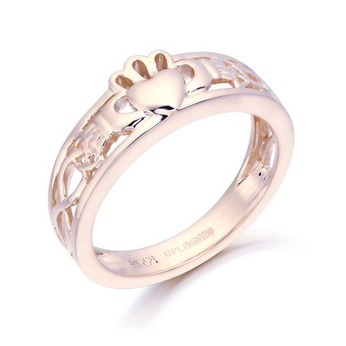 Claddagh Ring with Celtic Knot design-CL3RCL